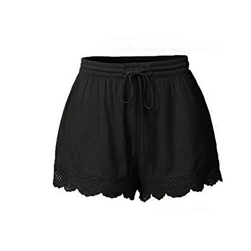Pantalones Pantalones Cortos De Encaje De Encaje De Color SóLido para Mujer Pantalones Casuales