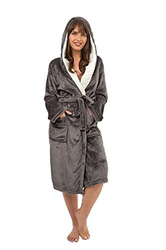 Daisy Dreamer Ladies Dressing Gown Soft Plush Bath Robe for Women Housecoat Loungewear Bathrobe Soft Shimmer Fleece Gowns, Charcoal 20-22
