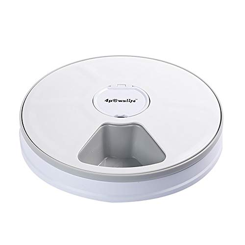 Price comparison product image 6-Meal Automatic Pet Feeder for Cats Dogs and Rabbits,  Music Reminder and Interval Based Timer with LCD Display,  for Dry or Semi-Moist Puppy Kitten Bunny Food