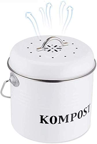 Cubo de compostaje con asa fabricado en metal galvanizado de alta calidad, diseño clásico, cubo de compostaje inodoro para bolsitas de té y cuencos de verduras,