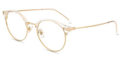 Firmoo Blaulicht Lesebrille 0.0x für Damen Herren, Anti Blaulicht Computerbrille mit Sehstärke, Runde Lesehilfe Sehhilfe Brille Blendfrei Kratzfest, Rahmenbreite 133mm-Mittel, Transparent