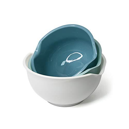 No/Brand Mousyee Bol Ensalada Plastico, 3 Piezas Ensaladera Set, Cuenco de Ensalada Multifuncional, Duradero y Moderno, Fácil de Limpiar y Almacenar, Adecuado para Mesa y Cocina (Blanco, Azul, Verde)