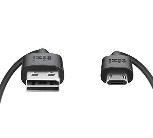 equinux tizi flip Micro USB 15cm schwarz Daten und Ladekabel mit doppelseitigen reversible Steckern Micro USB und USB A Stecker beidseitig steckbar Kabel mit umkehrbaren Micro USB Anschlussen