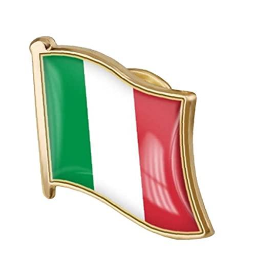 1pc Drapeau Italien Badge Métal Drapeau Époxy Drapeau Rocheuse Broche Monde Monde Badge Patriotique Ornement
