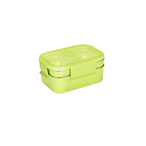Caja De Acero Inoxidable Doble Comida Caja De Alimentos Picnic Escuela Escuela Caja De Almuerzo Cuna Cuna De Comida Rápida (Color : Green)