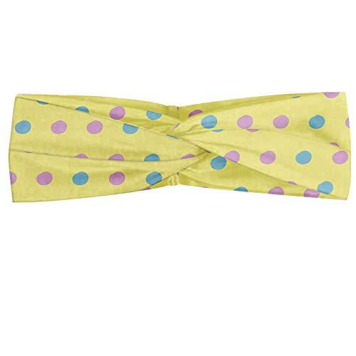 ABAKUHAUS Pink Dots Polka Bandeau, Répétition buvards en pastel Illustration Tones, Serre-tête Féminin Élastique et Doux pour Sport et pour Usage Quot
