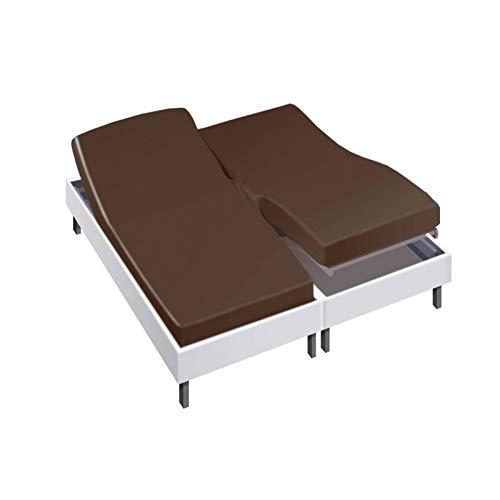 Drap House pour lit articulé 2x90x200 en Percale Chocolat - Couleur: Chocolat