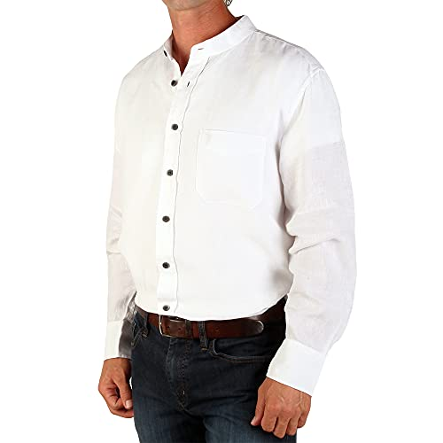 The Celtic Ranch Traditional Irish Grandfather Collarless Shirt, Men's 100% Linen Long-Sleeve Dress Shirt (White, X-Large)