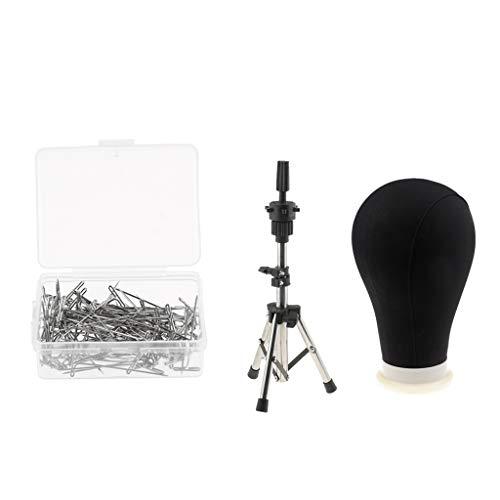 MERIGLARE 22 '' Perruques Faisant Affichage Noir Bloc De Toile Tête De Mannequin Support Trépied Broches