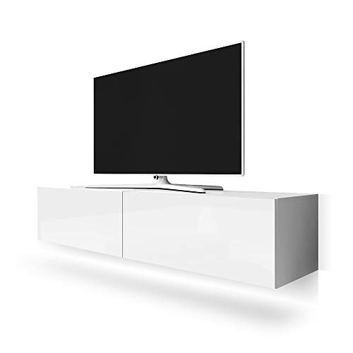 Selsey Point – TV-Board / TV-Hängeboard / Fernsehtisch, weiß, 200 x 40 x 34 cm