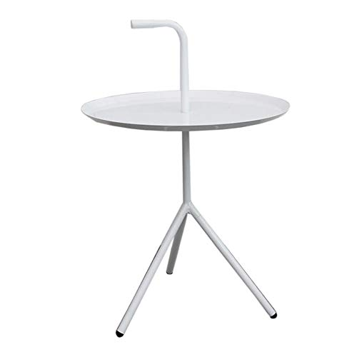 YUMEIGE-SIDE TABLE Small Coffee/Snack Table, Round Metal End Table For Outdoor Or Indoor Use, Patio Steel Side Table With Handle end table (Color : White, Size : 14.96 * 22.83in)