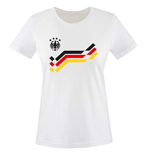 EM 2016 - Deutschland - Retro - Trikot - Damen T-Shirt - Weiss/Schwarz Gr. L