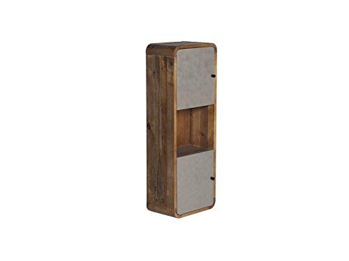 Woodkings® Hochschrank Dingle Badezimmermöbel Echtholz Pinie rustikal und MDF Betonoptik grau Badezimmerhochschrank Badschrank Badmöbel hängend für kleines Bad