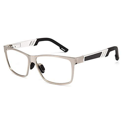 EYEphd Gafas de Lectura Anti-Azules Inteligentes de Alta definición para Hombres, Marco de Metal Rectangular clásico 1.56 Aumento del Lector de Lentes de Resina asférica +0.5 a +3.0,Plata,+2.25