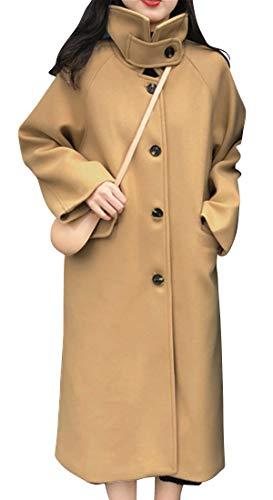 [アイカ] スタンドカラー メルトン コート ロング チェスターコート 中綿 厚手 レディース M ベージュ