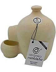 CERÁMICA RAMBLEÑA | Bebedero para gallinas | Bebedero para pájaros | La Rambla (Córdoba) | 100% Hecho a Mano | 2 litros | Eco