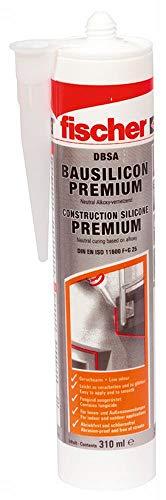 fischer Bausilicon DBSA, geruchsarmes Premium Silikon, wetterfeste Dichtmasse für Innen- & Außenbereich, Kartusche für zahlreiche Anwendungen und Baustoffe, 310 ml, schwarz