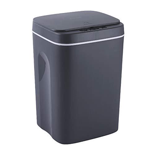 FengYun Sensor de basura automático Cubo de basura Oficina en casa Tapa sellada Cubo de basura Sensor de movimiento infrarrojo sin contacto Bote de basura (15L, Negro)