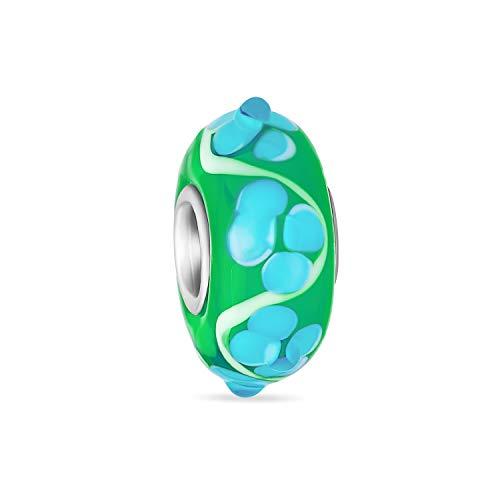 Murano Glass .925 Sterling Silver Core 3D Lampwork Floral verde y blanco Hibiscus flor espaciador encanto cuenta se adapta a la pulsera europea para las mujeres adolescentes