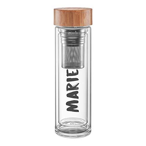 deinzigartig #Lieblingsflasche Relax – Identity-Design - Teeflasche aus Glas mit Ihrem Namen - kostenlose Personalisierung - für losen Tee & Infused Water (schwarz)