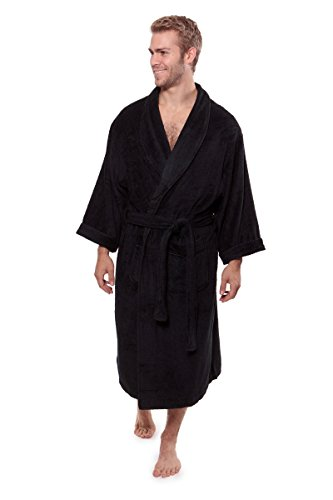 Texere Men's Luxury Terry Cloth Bathrobe (EcoComfort, Black, LXL) Fathers Day Presents