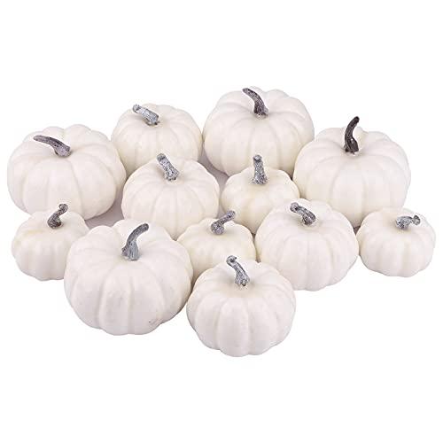 Zucca Bianca di Halloween,12 Pezzi di Zucca Bianca Fai-da-Te,zucche Artificiali per la Decorazione di Halloween Ringraziamento del Raccolto Autunnale