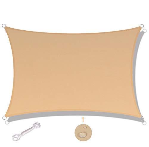SUNNY GUARD Toldo Vela de Sombra Rectangular 2x3m Impermeable a Prueba de Viento protección UV para Patio, Exteriores, Jardín, Color Arena