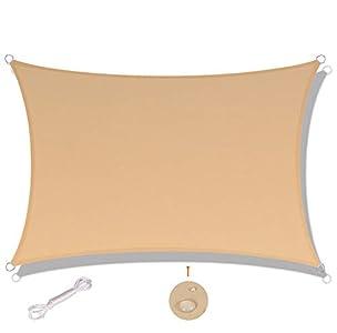 SUNNY GUARD Toldo Vela de Sombra Rectangular 3x4m Impermeable a Prueba de Viento protección UV para Patio, Exteriores, Jardín, Color Arena