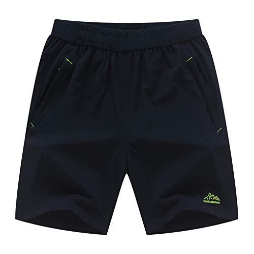 Pantalones Cortos Hombre Verano 2019 Nuevo SHOBDW Tallas Grandes Corriendo Pantalones Hombre Deporte Secado Rapido Bolsillos Color Sólido Transpirable Pantalones de Playa(Azul,7XL)