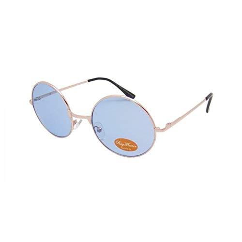 CHICNET Hochwertige Damen Herren Sonnenbrille Rundglas Hippie John-Lennon Brille 400UV rund, runde Gläser, langer Steg, aus Metall und Acryl, verspiegelt und getönt (blau getönt)