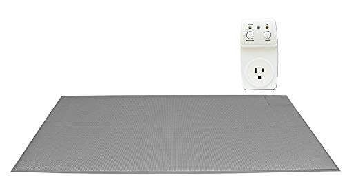Smart Caregiver Light Outlet with Cordless Grey Floor Mat – Turns on a Light When They get up!