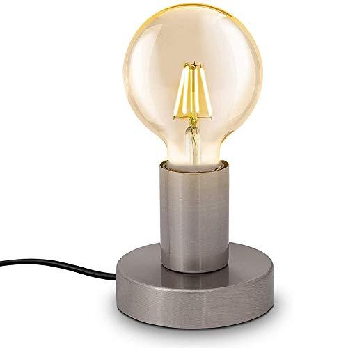 Chao Zan moderne Tischleuchte für LED und Glühbirne, E27 Fassung, bis max.60W,Standleuchte mit Stecker und Schalter, Nachttischlampe,Tischlampe,Matt-Nickel,ohne Leuchtmittel,Ø10cm