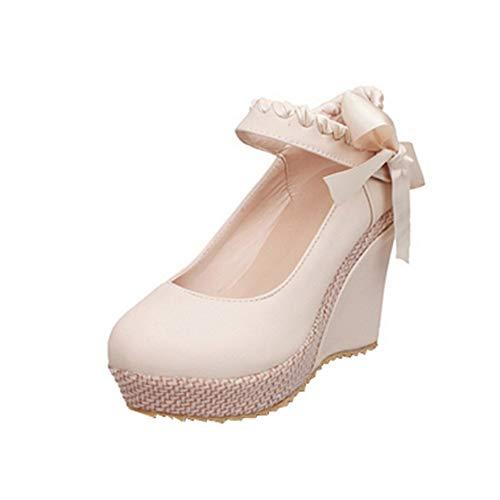NIGHT CHERRY Damen Süß Keilabsatz Schuhe mit Absatz Plateau Runde Zehen Pumps Schuhe Knöchelriemchen Beige Große 40 Asiatisch