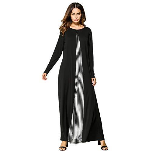 Muslim Middle Eastern Long Dress Women Abaya Islamic National Robe Black