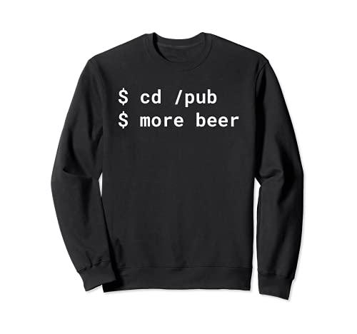 cd /pub più birra Pun White Design per la linea di comando hacker Felpa