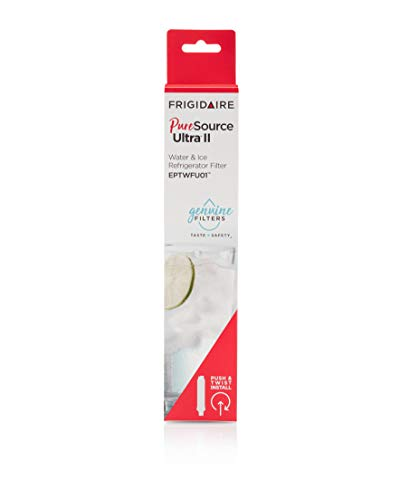 Frigidaire eptwfu01 refrigerator water filter, 1 count, white 3 make safe water second nature: certified to reduce contaminants and keep great tasting water flowing for you and your family filters out up to 99% of contaminants: reduces chlorine taste & odor, particulates class i, cysts, lead, mercury, pesticides, insecticides, bpa, asbestos, pharmaceuticals and more push & twist easy install: always review your use & care guide before installation, to install slide new filter in with grip oriented horizontally. Push firmly and turn 90° to the right until it snaps into place