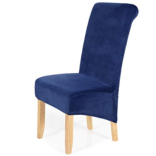 smiry Stretch Velvet Dining Chair Covers, Removable Washable Large Soft Dining Chair Slipcovers for Kitchen Home Restaurant (Set of 2, Federal Blue)