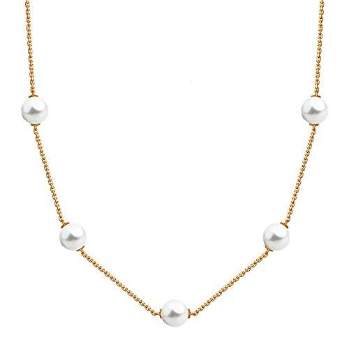 SOKOLOV Jewelry Goldkette mit echter Perle und Zirkonia I Damen Collier 585 Gold I Exklusiver Designer Markenschmuck Damen-Schmuck Swarovski Perlen-Anhänger 1,5 x 0,7 cm (45)