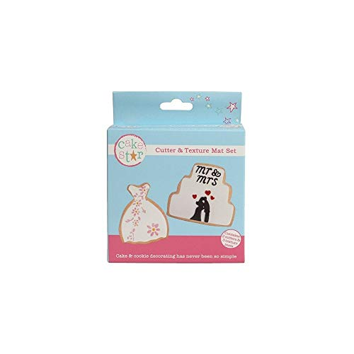 Cake Star Cutter & Texture Mat Set - Wedding Dress & Cake