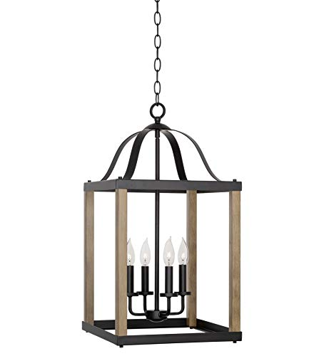 "Kira Home Sycamore 26.5"" 4-Light Large Modern Farmhouse Chandelier, Lantern Style Foyer Light, Smoked Birch Wood Style + Black Finish"