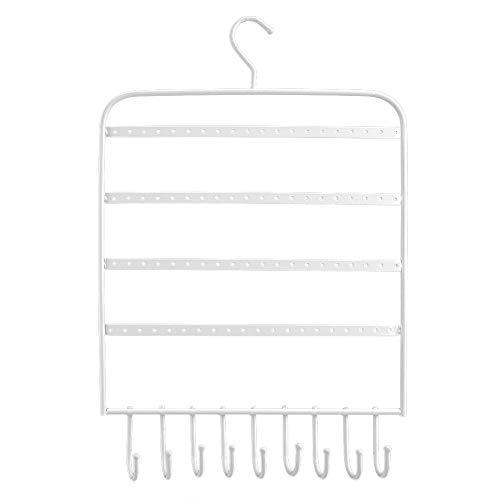 FEBT Soporte de Collar, Soporte de exhibición de Estante Pendientes de Gancho curvados para Llave para Anillos(Blanco)