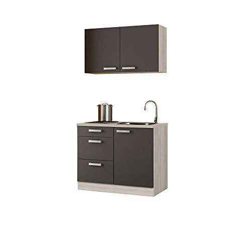 Singleküche BARCELONA - Miniküche mit Elektro-Kochfeld und Spüle - Breite 100 cm - Grau/Akazie Dekor