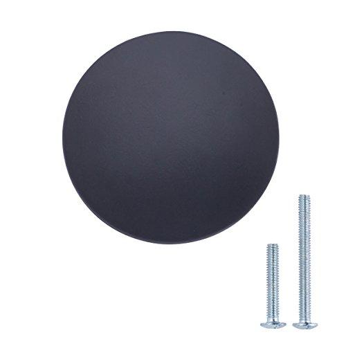 Amazon Basics - Pomo de armario redondo y plano, 3,47 cm de diámetro, Negro liso, Paquete de 10