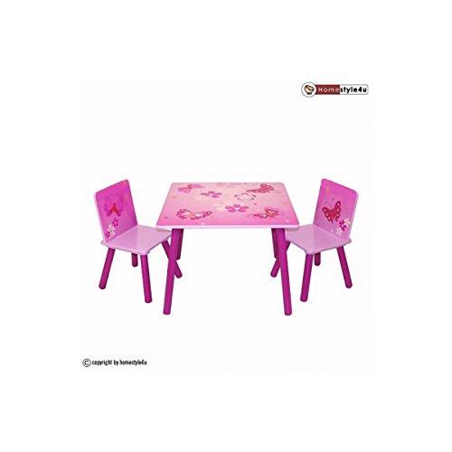 Ensemble Table et 2 chaises Motif de papillon