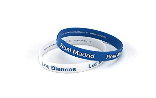 Pulsera Real Madrid Club de Fútbol Relieve Azul y Blanca Junior para Mujer y Niño, Pulsera de Silicona, Producto Oficial