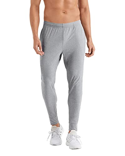 Rhone Men's Reign Midweight Jogger, Slim Athletic Fit, Moisture Wicking, GOLDFUSION Anti-Odor Technology (Light Gray Heather, Large)