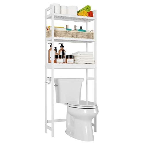 Homfa Toilettenregal weiß Toilettenschrank Badezimmerregal für Badezimmer WC regal mit 3 Ablagen platzsparend 63.5x26x163cm