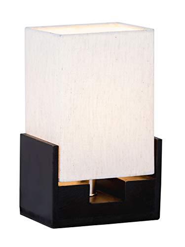 Casamia - Lámpara de mesa (15 x 24 cm, con base de madera), color negro