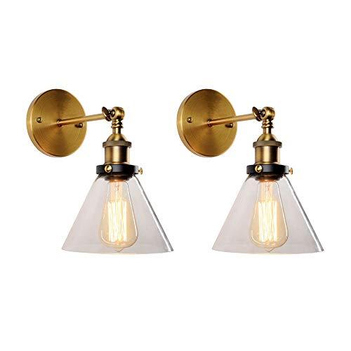 Lámpara de pared industrial retro Luz de pared de metal vintage con pantalla de cristal, lámparas de pared rústicas para sala de estar interna Restaurante dormitorio noche decorativo E27 Kits de ajust