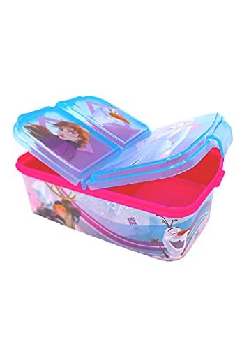 Fozen caja de almuerzo fiambrera caja de comida para niños con 3 compartimentos separados